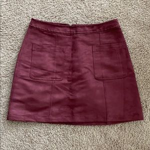 Suede red skirt